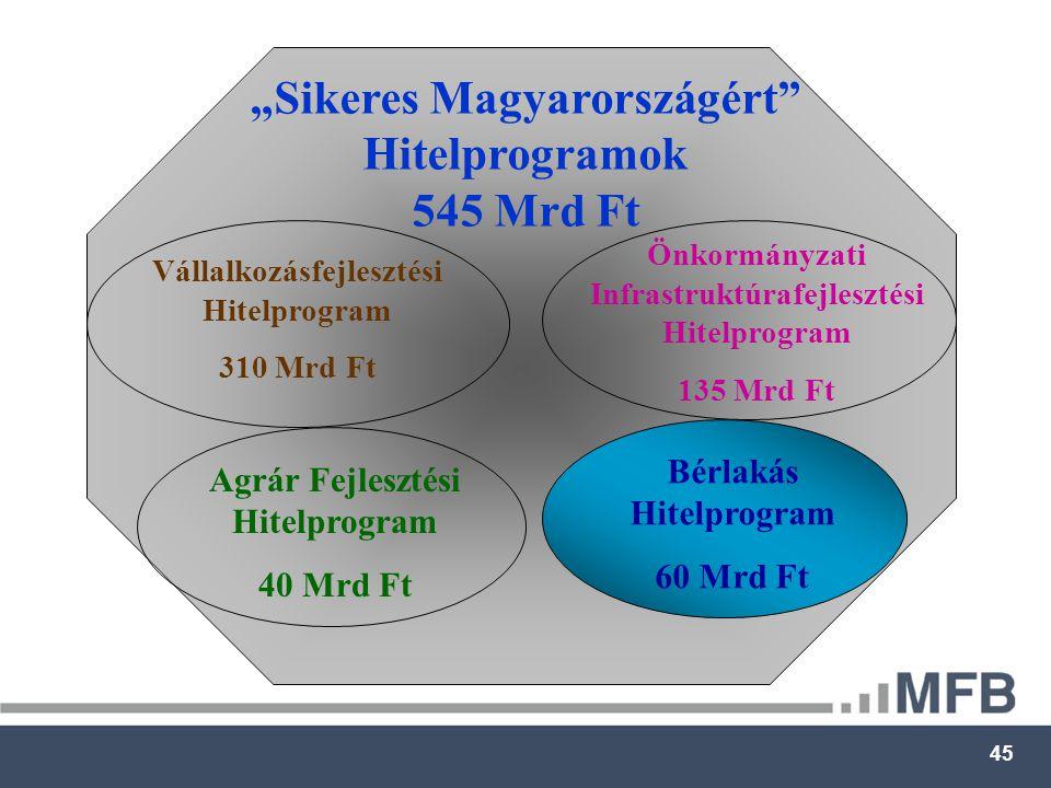 """45 """"Sikeres Magyarországért Hitelprogramok 545 Mrd Ft Vállalkozásfejlesztési Hitelprogram 310 Mrd Ft Önkormányzati Infrastruktúrafejlesztési Hitelprogram 135 Mrd Ft Agrár Fejlesztési Hitelprogram 40 Mrd Ft Bérlakás Hitelprogram 60 Mrd Ft"""