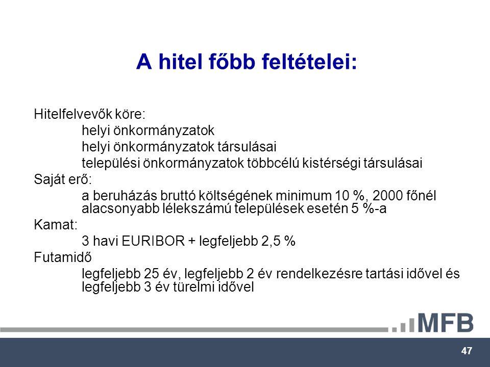 47 A hitel főbb feltételei: Hitelfelvevők köre: helyi önkormányzatok helyi önkormányzatok társulásai települési önkormányzatok többcélú kistérségi társulásai Saját erő: a beruházás bruttó költségének minimum 10 %, 2000 főnél alacsonyabb lélekszámú települések esetén 5 %-a Kamat: 3 havi EURIBOR + legfeljebb 2,5 % Futamidő legfeljebb 25 év, legfeljebb 2 év rendelkezésre tartási idővel és legfeljebb 3 év türelmi idővel