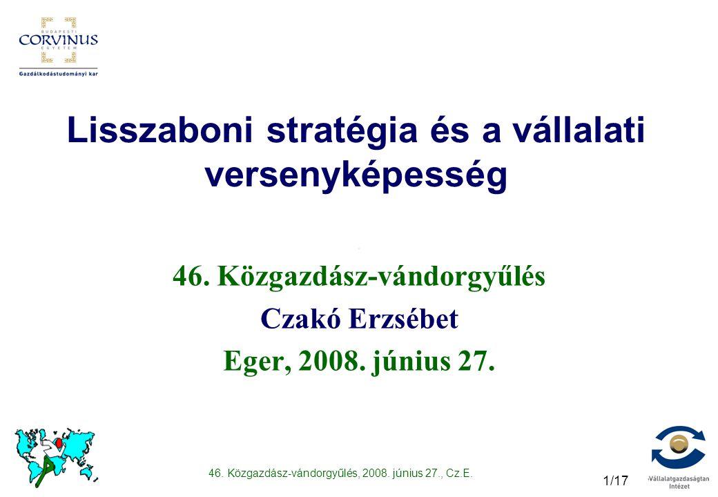 46. Közgazdász-vándorgyűlés, 2008. június 27., Cz.E. 1/17 Lisszaboni stratégia és a vállalati versenyképesség 46. Közgazdász-vándorgyűlés Czakó Erzséb