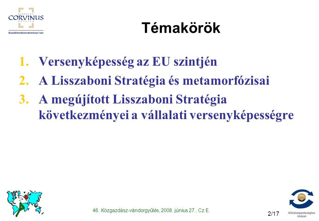 46. Közgazdász-vándorgyűlés, 2008. június 27., Cz.E. 2/17 Témakörök 1.Versenyképesség az EU szintjén 2.A Lisszaboni Stratégia és metamorfózisai 3.A me