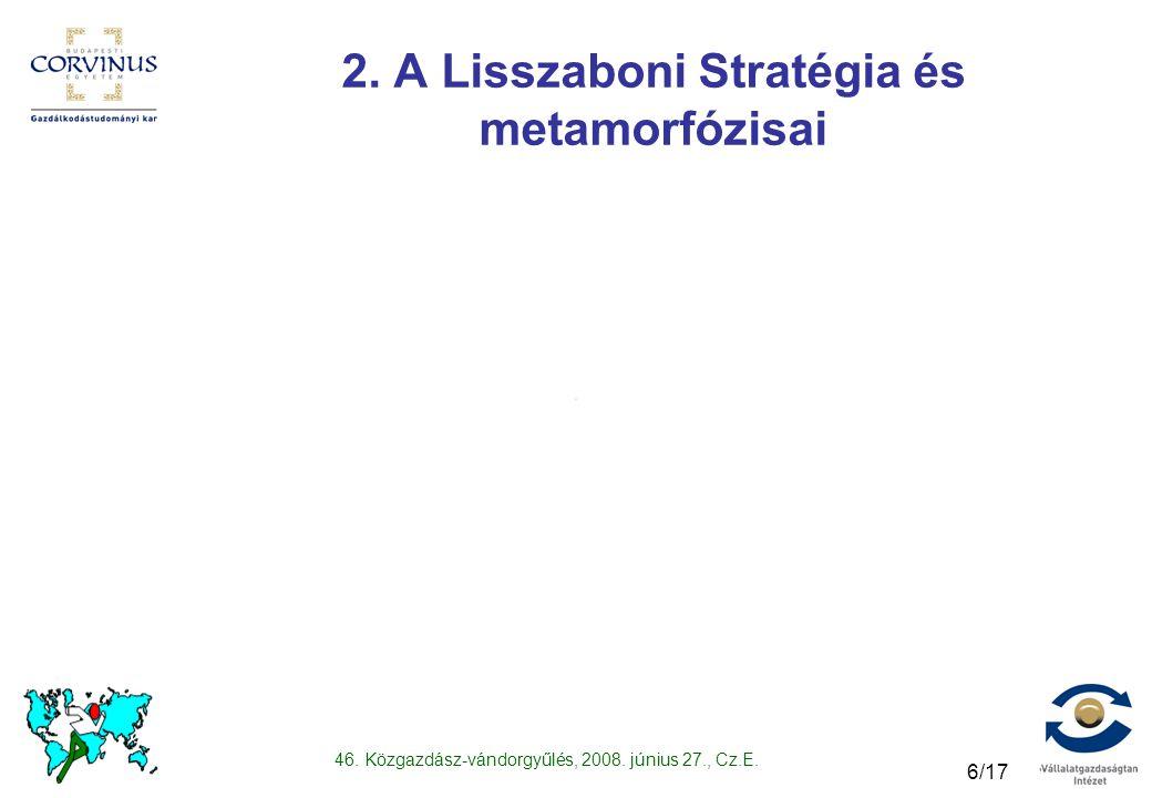 46. Közgazdász-vándorgyűlés, 2008. június 27., Cz.E. 6/17 2. A Lisszaboni Stratégia és metamorfózisai