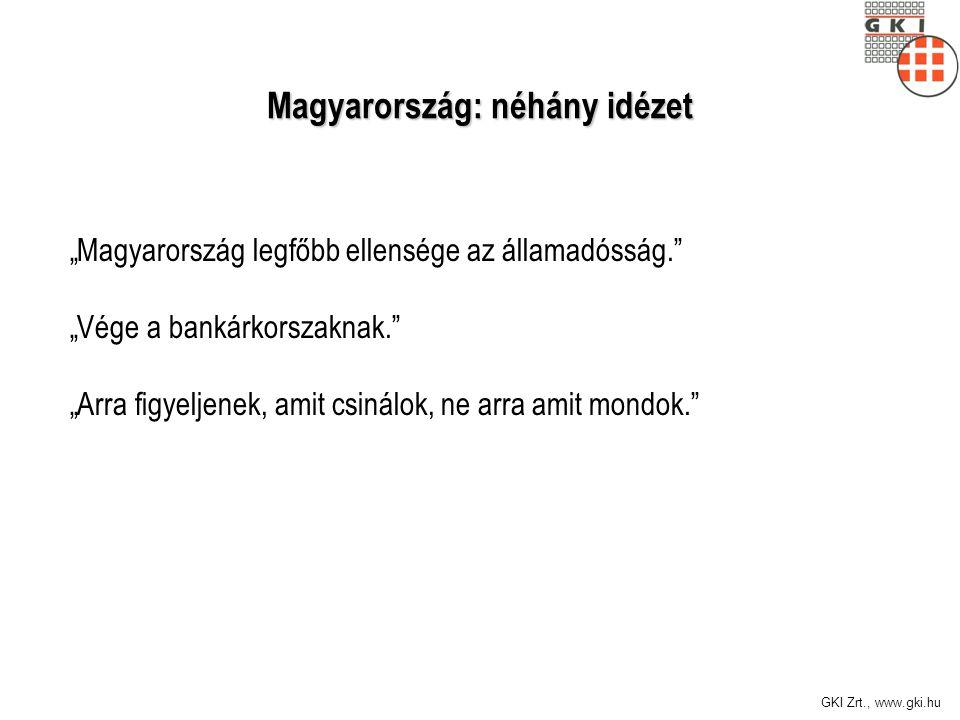 """GKI Zrt., www.gki.hu Magyarország: néhány idézet """"Magyarország legfőbb ellensége az államadósság. """"Vége a bankárkorszaknak. """"Arra figyeljenek, amit csinálok, ne arra amit mondok."""
