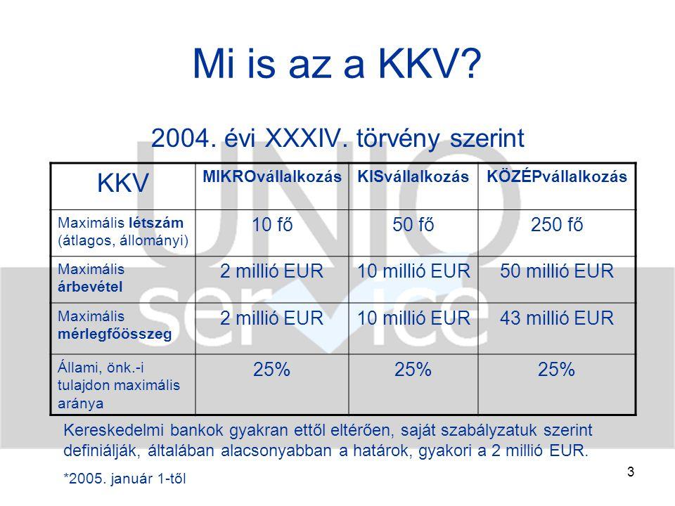 """4 KKV-k jelentősége Fejlett piacok: versenybarát, piac-konform támogatás EU, OECD Hazánkban: még kialakulóban –Konvergenciaprogram 2005-2009 –működnek közvetett/közvetlen állami intézmények (pl.: MFB, Eximbank, Hitelgarancia Zrt.) – kereskedelmi banki szektor is """"megmozdult –súlyuk számokban: bruttó hozzáadott érték közel 40%-a exportértékesítés közel 20% alkalmazottak több mint 60 %-a KKV szektorban Stratégiai kérdés!!!"""
