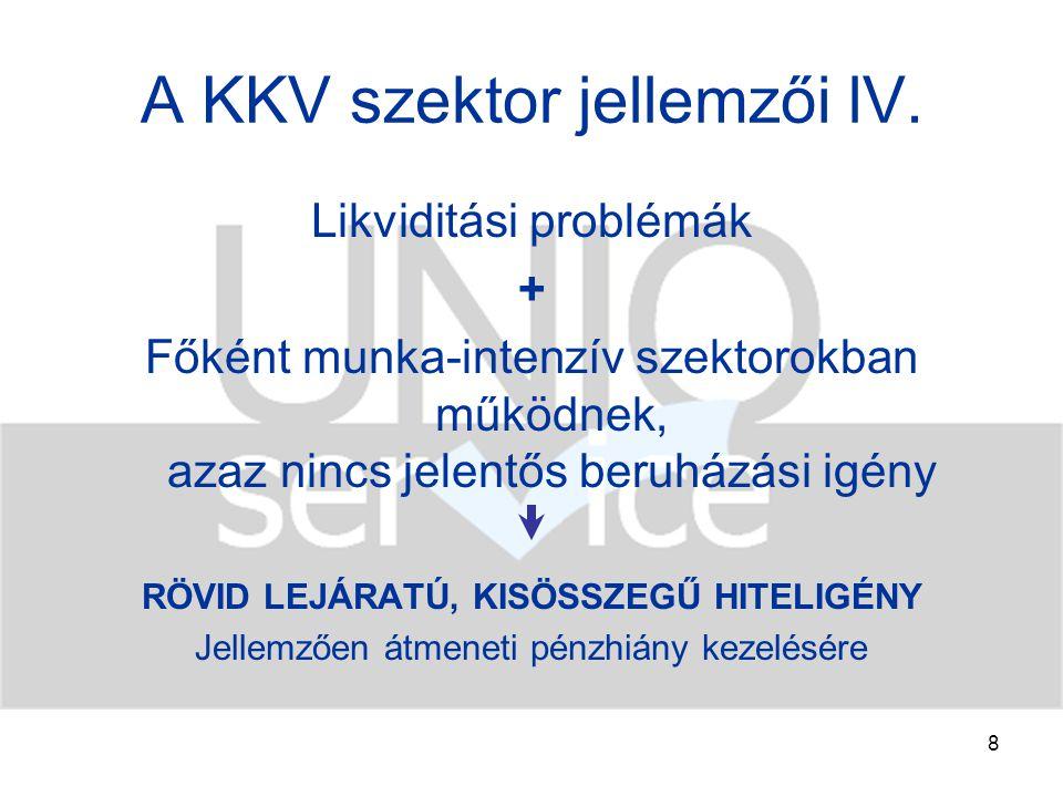 9 A KKV szektor jellemzői V.