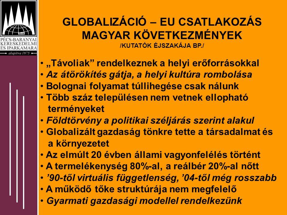 """GLOBALIZÁCIÓ – EU CSATLAKOZÁS MAGYAR KÖVETKEZMÉNYEK /KUTATÓK ÉJSZAKÁJA BP./ """"Távoliak rendelkeznek a helyi erőforrásokkal Az átörökítés gátja, a helyi kultúra rombolása Bolognai folyamat túllihegése csak nálunk Több száz településen nem vetnek ellopható terményeket Földtörvény a politikai széljárás szerint alakul Globalizált gazdaság tönkre tette a társadalmat és a környezetet Az elmúlt 20 évben állami vagyonfelélés történt A termelékenység 80%-al, a reálbér 20%-al nőtt '90-től virtuális függetlenség, '04-től még rosszabb A működő tőke struktúrája nem megfelelő Gyarmati gazdasági modellel rendelkezünk"""