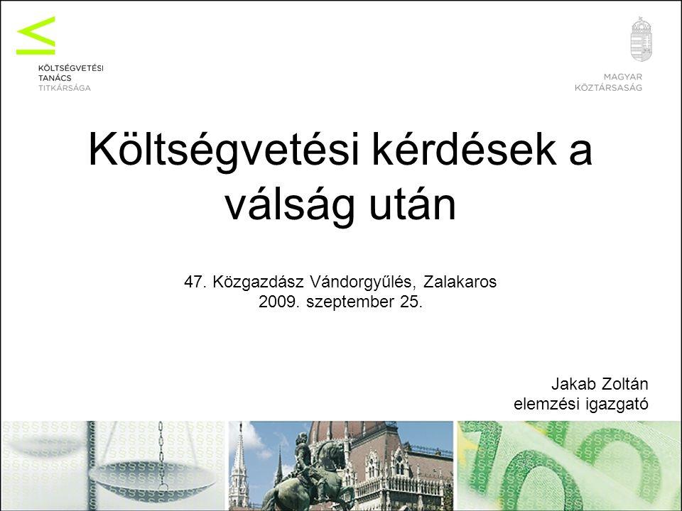 Költségvetési kérdések a válság után 47. Közgazdász Vándorgyűlés, Zalakaros 2009.