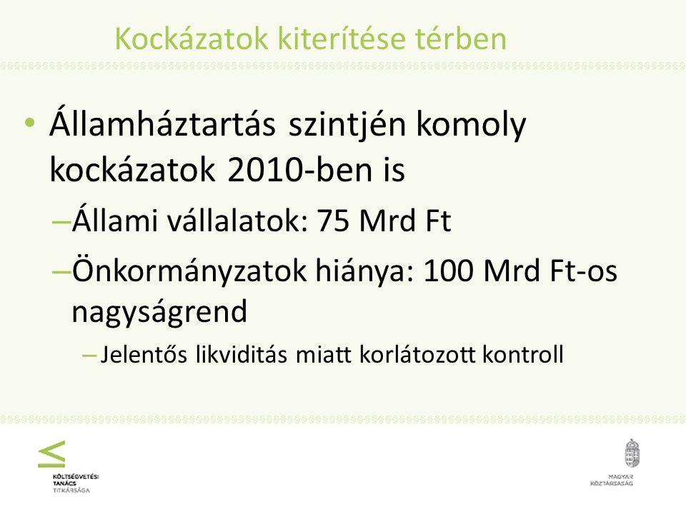 Kockázatok kiterítése térben Államháztartás szintjén komoly kockázatok 2010-ben is – Állami vállalatok: 75 Mrd Ft – Önkormányzatok hiánya: 100 Mrd Ft-os nagyságrend – Jelentős likviditás miatt korlátozott kontroll