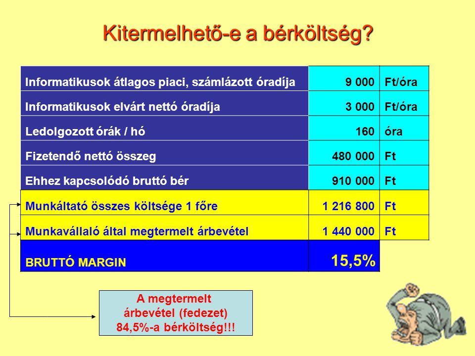 Informatikusok átlagos piaci, számlázott óradíja9 000Ft/óra Informatikusok elvárt nettó óradíja3 000Ft/óra Ledolgozott órák / hó160óra Fizetendő nettó összeg480 000Ft Ehhez kapcsolódó bruttó bér910 000Ft Munkáltató összes költsége 1 főre1 216 800Ft Munkavállaló által megtermelt árbevétel1 440 000Ft BRUTTÓ MARGIN 15,5% A megtermelt árbevétel (fedezet) 84,5%-a bérköltség!!.