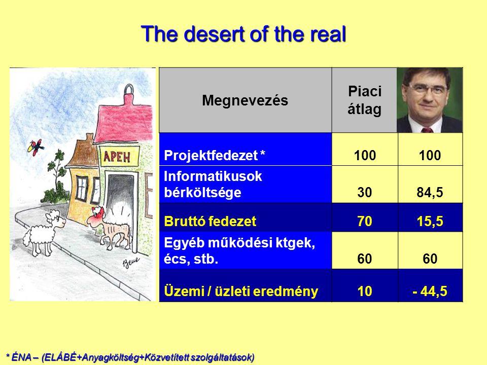 Megnevezés Piaci átlag Projektfedezet *100 Informatikusok bérköltsége3084,5 Bruttó fedezet7015,5 Egyéb működési ktgek, écs, stb.60 Üzemi / üzleti eredmény10- 44,5 * ÉNA – (ELÁBÉ+Anyagköltség+Közvetített szolgáltatások) The desert of the real