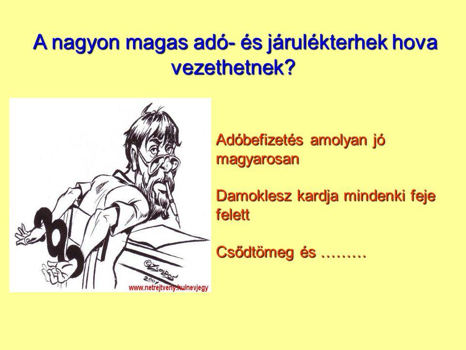 Adóbefizetés amolyan jó magyarosan Damoklesz kardja mindenki feje felett Csődtömeg és ……… A nagyon magas adó- és járulékterhek hova vezethetnek.