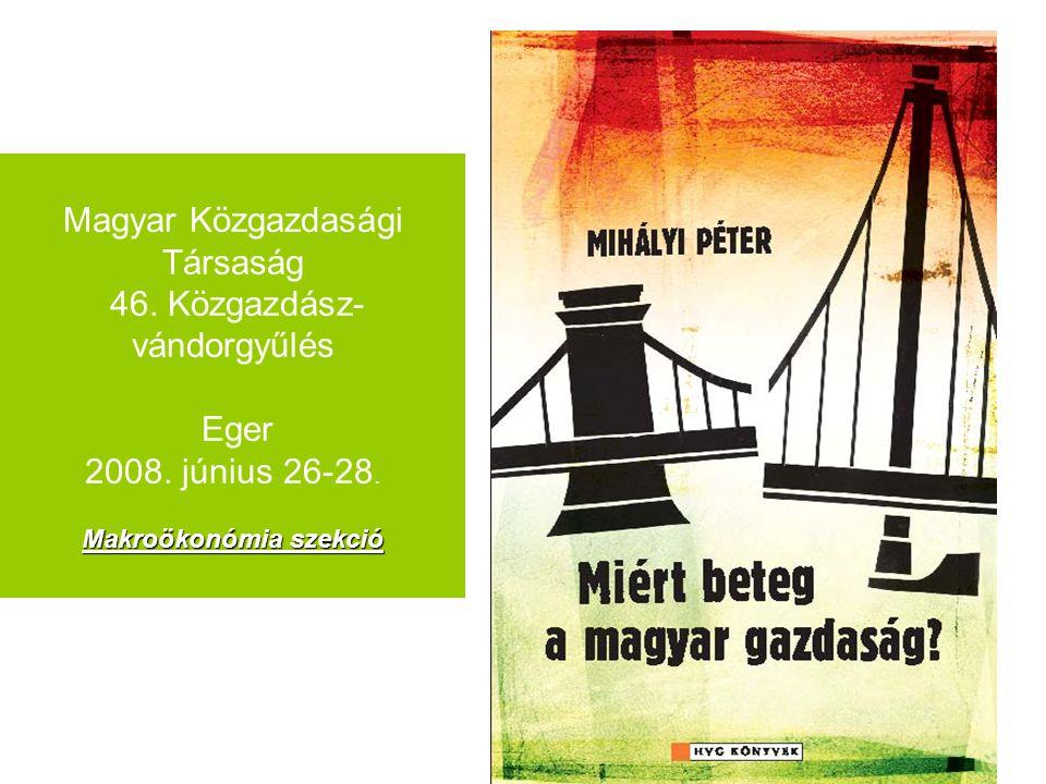 1 Makroökonómia szekció Magyar Közgazdasági Társaság 46. Közgazdász- vándorgyűlés Eger 2008. június 26-28. Makroökonómia szekció