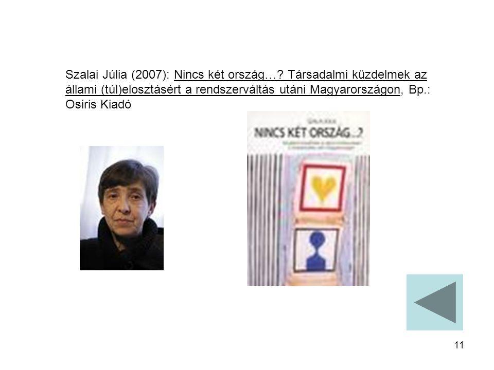 11 Szalai Júlia (2007): Nincs két ország…? Társadalmi küzdelmek az állami (túl)elosztásért a rendszerváltás utáni Magyarországon, Bp.: Osiris Kiadó