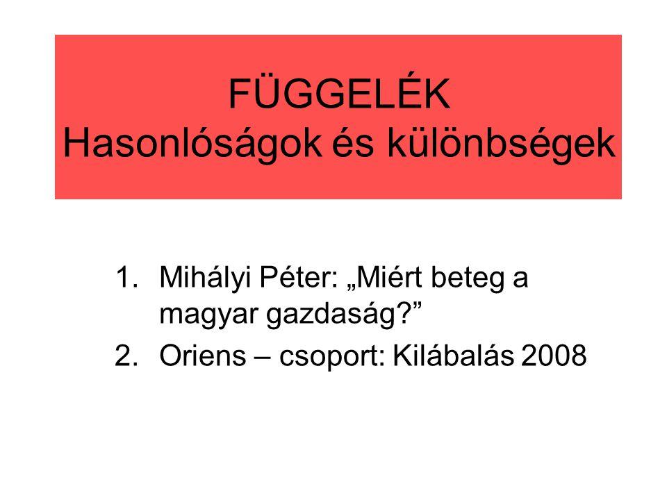 """FÜGGELÉK Hasonlóságok és különbségek 1.Mihályi Péter: """"Miért beteg a magyar gazdaság? 2.Oriens – csoport: Kilábalás 2008"""