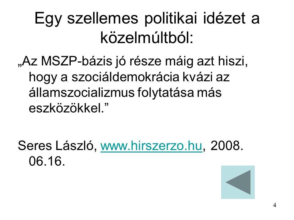 """4 Egy szellemes politikai idézet a közelmúltból: """"Az MSZP-bázis jó része máig azt hiszi, hogy a szociáldemokrácia kvázi az államszocializmus folytatása más eszközökkel. Seres László, www.hirszerzo.hu, 2008."""
