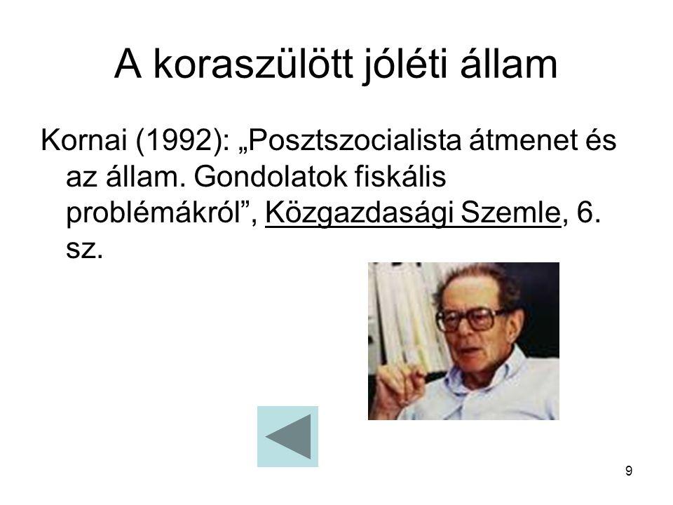 """9 A koraszülött jóléti állam Kornai (1992): """"Posztszocialista átmenet és az állam. Gondolatok fiskális problémákról"""", Közgazdasági Szemle, 6. sz."""