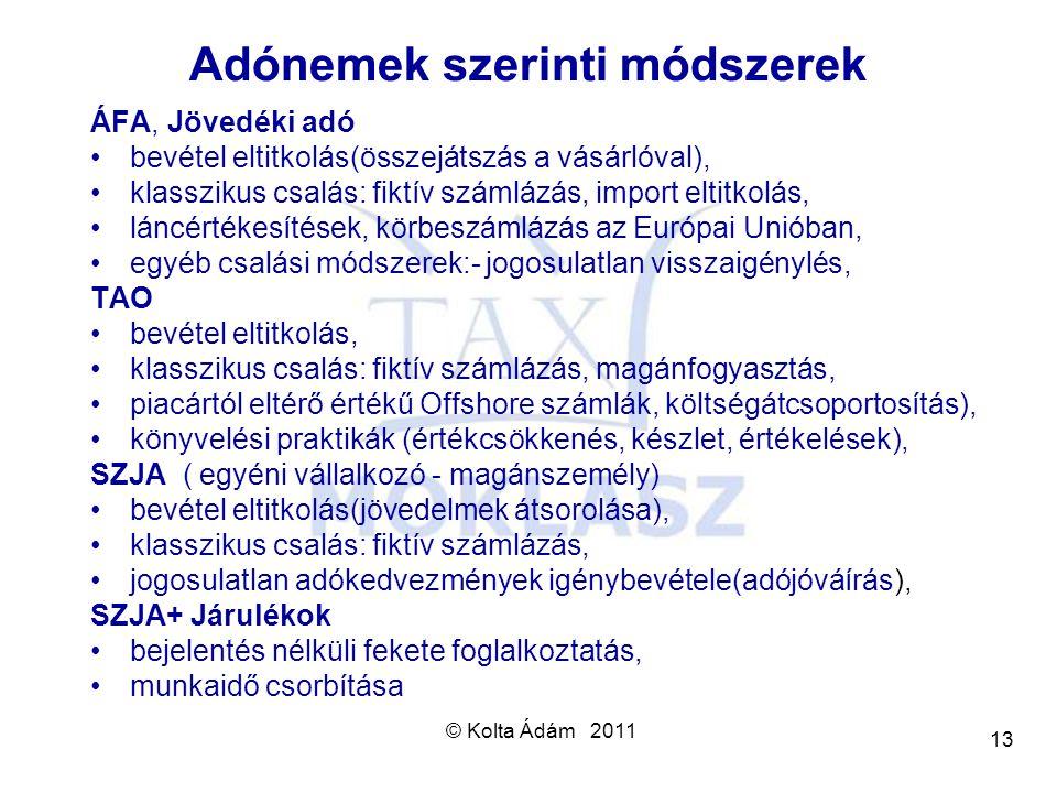 © Kolta Ádám 2011 13 Adónemek szerinti módszerek ÁFA, Jövedéki adó bevétel eltitkolás(összejátszás a vásárlóval), klasszikus csalás: fiktív számlázás,