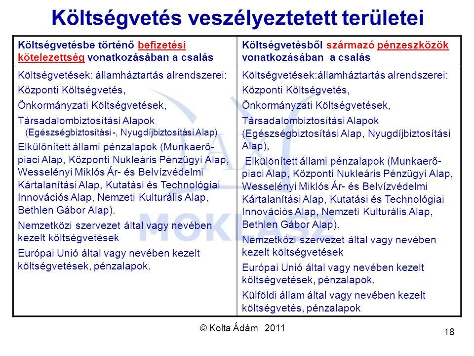 © Kolta Ádám 2011 18 Költségvetés veszélyeztetett területei Költségvetésbe történő befizetési kötelezettség vonatkozásában a csalás Költségvetésből sz
