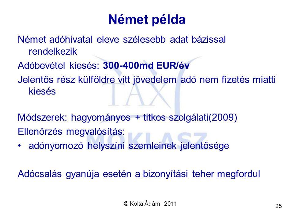 © Kolta Ádám 2011 25 Német példa Német adóhivatal eleve szélesebb adat bázissal rendelkezik Adóbevétel kiesés: 300-400md EUR/év Jelentős rész külföldr