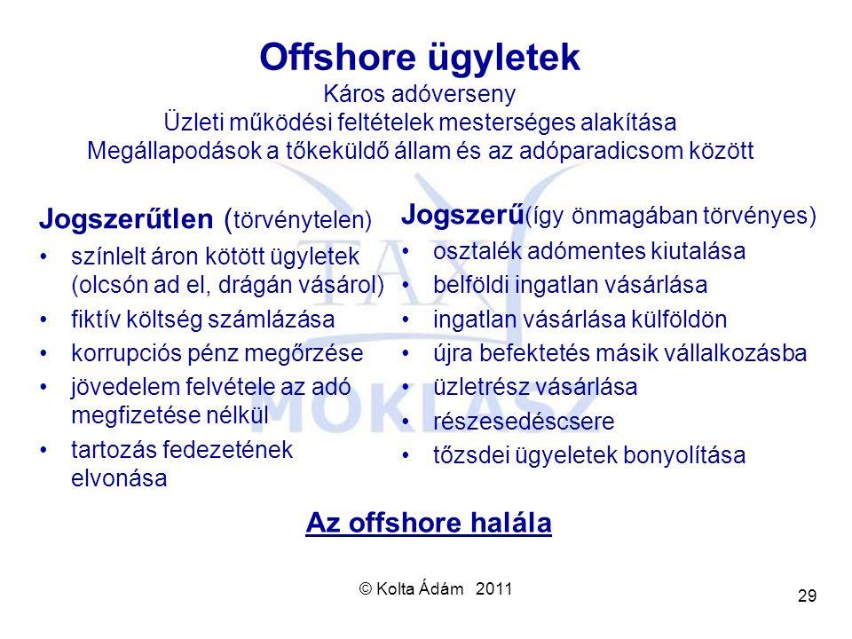 © Kolta Ádám 2011 29 Offshore ügyletek Káros adóverseny Üzleti működési feltételek mesterséges alakítása Megállapodások a tőkeküldő állam és az adópar