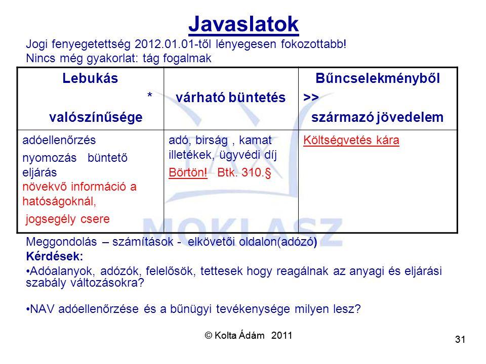 © Kolta Ádám 2011 31 © Kolta Ádám 2011 31 Javaslatok Jogi fenyegetettség 2012.01.01-től lényegesen fokozottabb! Nincs még gyakorlat: tág fogalmak Megg