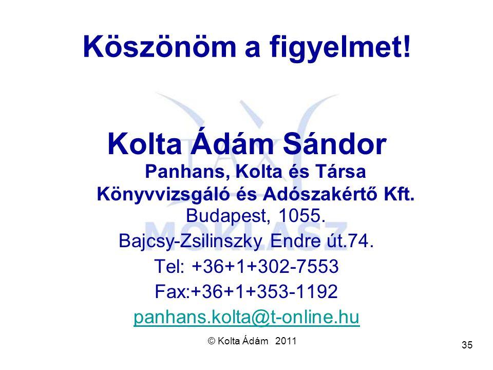 © Kolta Ádám 2011 35 Köszönöm a figyelmet! Kolta Ádám Sándor Panhans, Kolta és Társa Könyvvizsgáló és Adószakértő Kft. Budapest, 1055. Bajcsy-Zsilinsz