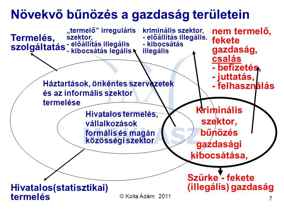 © Kolta Ádám 2011 7 Kriminális szektor, bűnözés gazdasági kibocsátása, Háztartások, önkéntes szervezetek és az informális szektor termelése Hivatalos