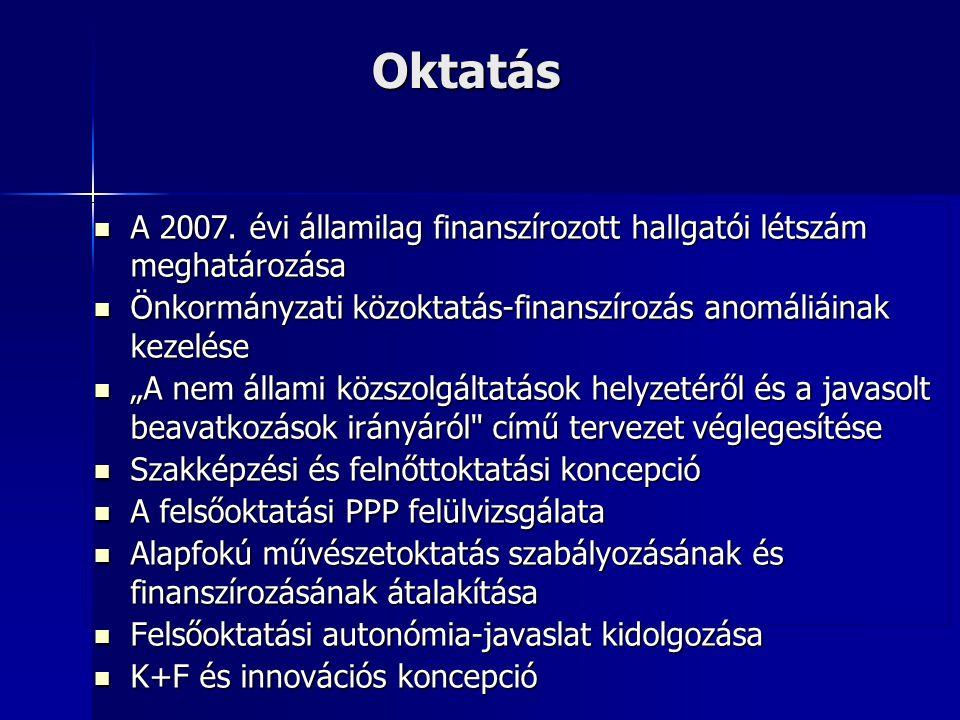 Oktatás A 2007. évi államilag finanszírozott hallgatói létszám meghatározása A 2007. évi államilag finanszírozott hallgatói létszám meghatározása Önko