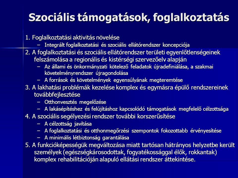 Szociális támogatások, foglalkoztatás 1. Foglalkoztatási aktivitás növelése –Integrált foglalkoztatási és szociális ellátórendszer koncepciója 2. A fo