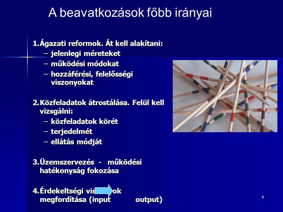 4 1.Ágazati reformok. Át kell alakítani: –jelenlegi méreteket –működési módokat –hozzáférési, felelősségi viszonyokat 2.Közfeladatok átrostálása. Felü