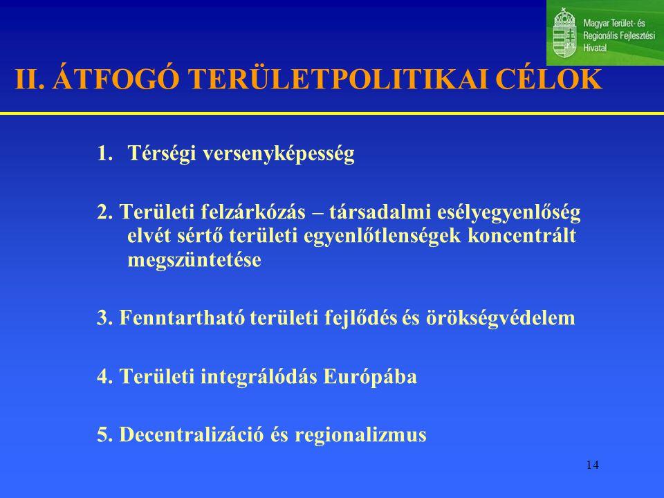 14 II.ÁTFOGÓ TERÜLETPOLITIKAI CÉLOK 1.Térségi versenyképesség 2.