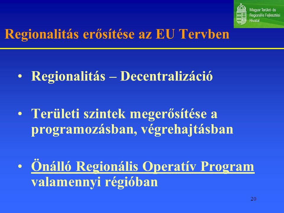 20 Regionalitás erősítése az EU Tervben Regionalitás – Decentralizáció Területi szintek megerősítése a programozásban, végrehajtásban Önálló Regionális Operatív Program valamennyi régióban