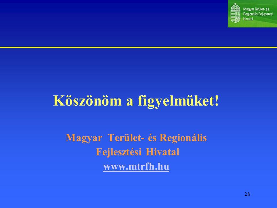 28 Köszönöm a figyelmüket! Magyar Terület- és Regionális Fejlesztési Hivatal www.mtrfh.hu