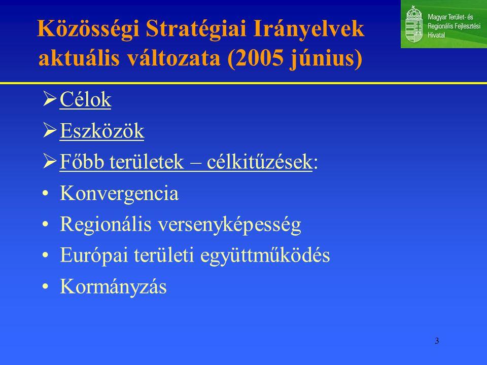 3 Közösségi Stratégiai Irányelvek aktuális változata (2005 június)  Célok  Eszközök  Főbb területek – célkitűzések: Konvergencia Regionális versenyképesség Európai területi együttműködés Kormányzás