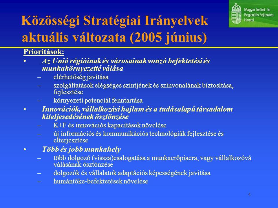4 Közösségi Stratégiai Irányelvek aktuális változata (2005 június) Prioritások: Az Unió régióinak és városainak vonzó befektetési és munkakörnyezetté válása –elérhetőség javítása –szolgáltatások elégséges szintjének és színvonalának biztosítása, fejlesztése –környezeti potenciál fenntartása Innovációk, vállalkozási hajlam és a tudásalapú társadalom kiteljesedésének ösztönzése –K+F és innovációs kapacitások növelése –új információs és kommunikációs technológiák fejlesztése és elterjesztése Több és jobb munkahely –több dolgozó (vissza)csalogatása a munkaerőpiacra, vagy vállalkozóvá válásának ösztönzése –dolgozók és vállalatok adaptációs képességének javítása –humántőke-befektetések növelése