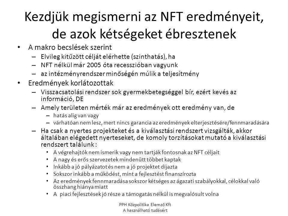 Kezdjük megismerni az NFT eredményeit, de azok kétségeket ébresztenek A makro becslések szerint – Elvileg kitűzött célját elérhette (szinthatás), ha – NFT nélkül már 2005 óta recesszióban vagyunk – az intézményrendszer minőségén múlik a teljesítmény Eredmények korlátozottak – Visszacsatolási rendszer sok gyermekbetegséggel bír, ezért kevés az információ, DE – Amely területen mérték már az eredmények ott eredmény van, de – hatás alig van vagy – várhatóan nem lesz, mert nincs garancia az eredmények elterjesztésére/fennmaradására – Ha csak a nyertes projekteket és a kiválasztási rendszert vizsgálták, akkor általában elégedett nyerteseket, de komoly torzításokat mutató a kiválasztási rendszert találunk : A végrehajtók nem ismerik vagy nem tartják fontosnak az NFT céljait A nagy és erős szervezetek mindenütt többet kaptak Inkább a jó pályázatot és nem a jó projektet díjazta Sokszor inkább a működést, mint a fejlesztést finanszírozta Az eredmények fennmaradása sokszor kétséges az ágazati szabályokkal, célokkal való összhang hiánya miatt A piaci fejlesztések jó része a támogatás nélkül is megvalósult volna PPH Közpolitika Elemző Kft A használható tudásért