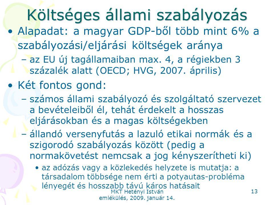 MKT Hetényi István emlékülés, 2009. január 14. 13 Költséges állami szabályozás Alapadat: a magyar GDP-ből több mint 6% a szabályozási/eljárási költség