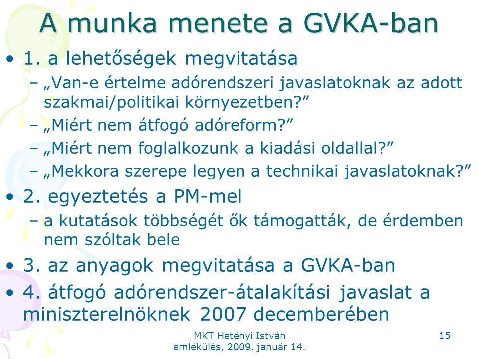 """MKT Hetényi István emlékülés, 2009. január 14. 15 A munka menete a GVKA-ban 1. a lehetőségek megvitatása –""""Van-e értelme adórendszeri javaslatoknak az"""