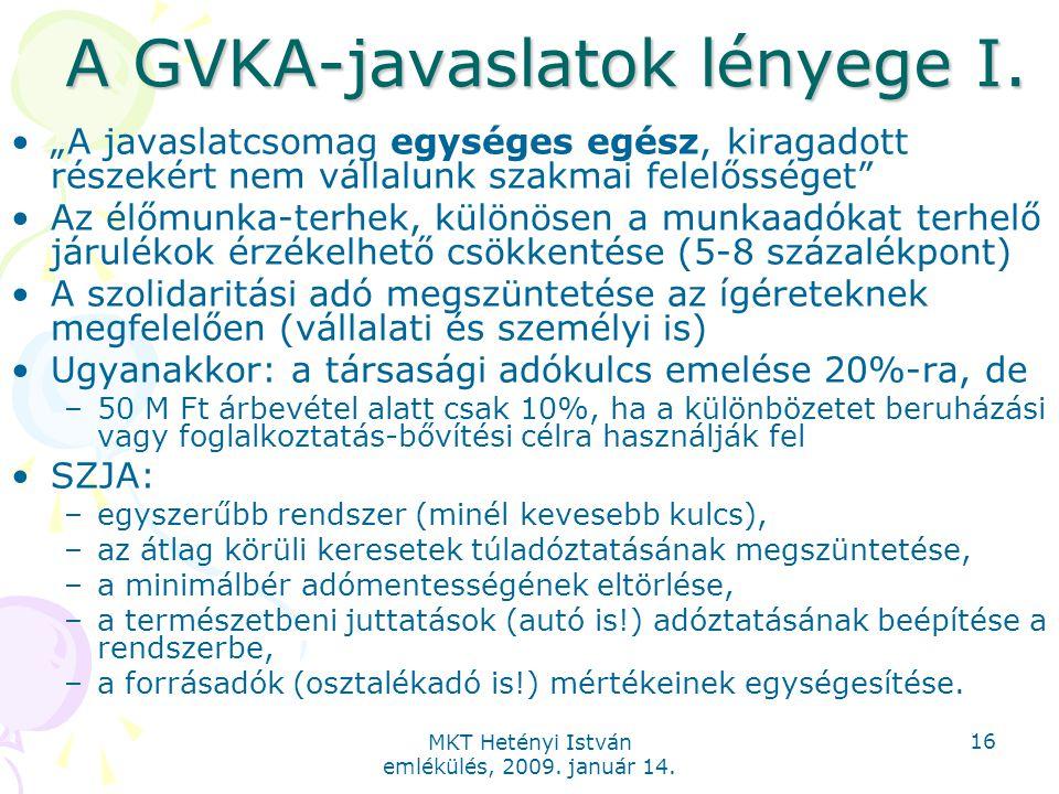 """MKT Hetényi István emlékülés, 2009. január 14. 16 A GVKA-javaslatok lényege I. """"A javaslatcsomag egységes egész, kiragadott részekért nem vállalunk sz"""