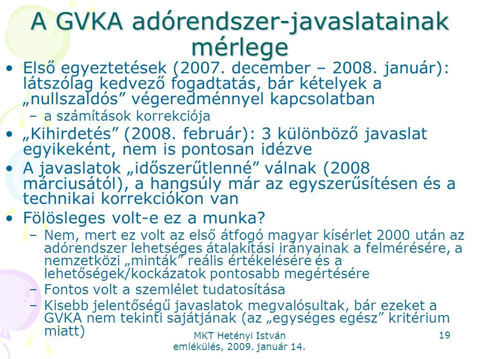 MKT Hetényi István emlékülés, 2009. január 14. 19 A GVKA adórendszer-javaslatainak mérlege Első egyeztetések (2007. december – 2008. január): látszóla