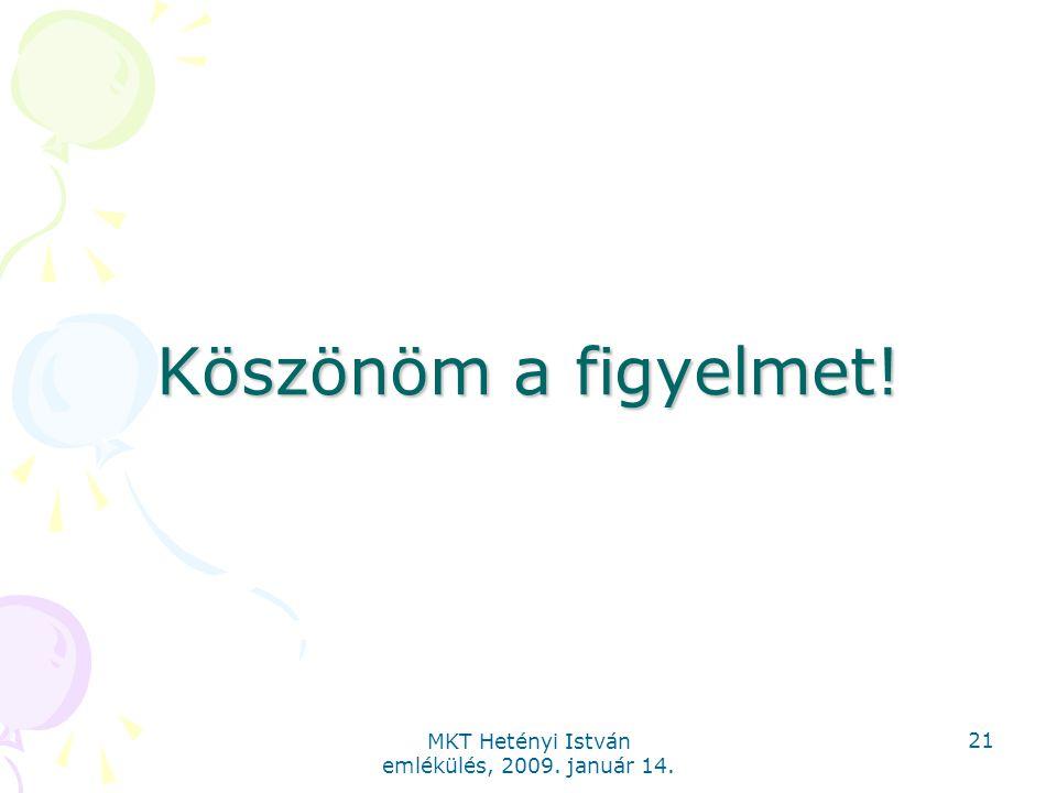 MKT Hetényi István emlékülés, 2009. január 14. 21 Köszönöm a figyelmet!