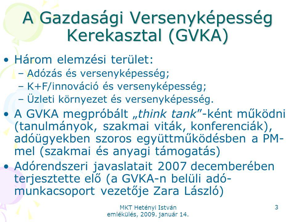 MKT Hetényi István emlékülés, 2009. január 14. 3 A Gazdasági Versenyképesség Kerekasztal (GVKA) Három elemzési terület: –Adózás és versenyképesség; –K