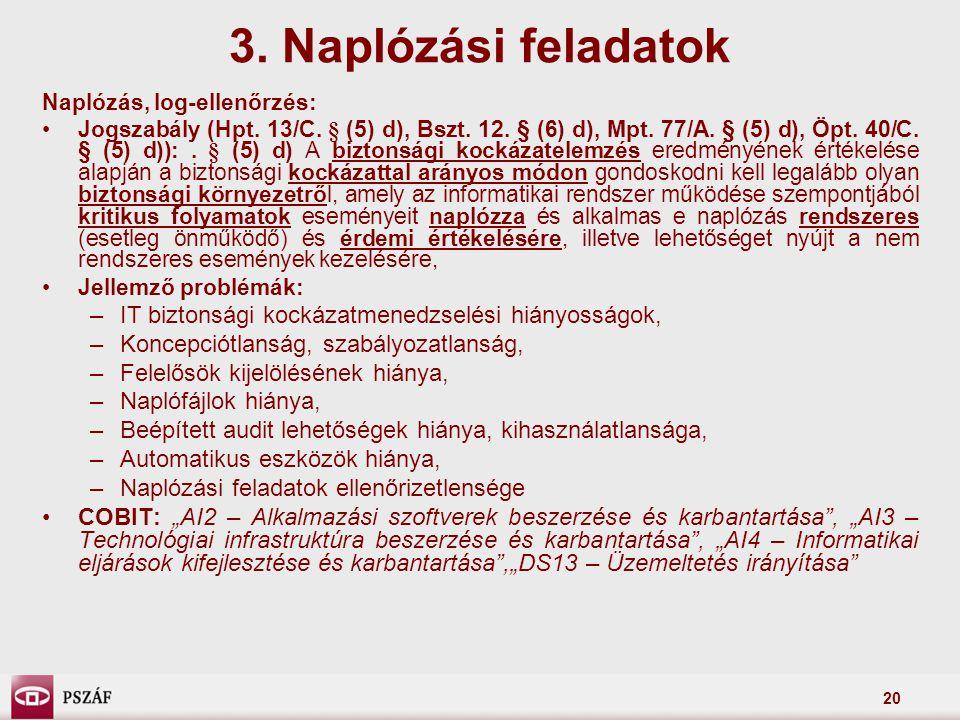 20 Naplózás, log-ellenőrzés: Jogszabály (Hpt. 13/C. § (5) d), Bszt. 12. § (6) d), Mpt. 77/A. § (5) d), Öpt. 40/C. § (5) d)):. § (5) d) A biztonsági ko