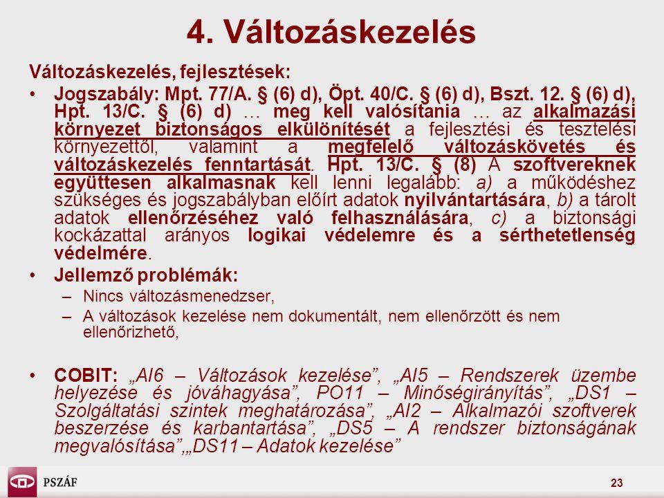 23 Változáskezelés, fejlesztések: Jogszabály: Mpt. 77/A. § (6) d), Öpt. 40/C. § (6) d), Bszt. 12. § (6) d), Hpt. 13/C. § (6) d) … meg kell valósítania