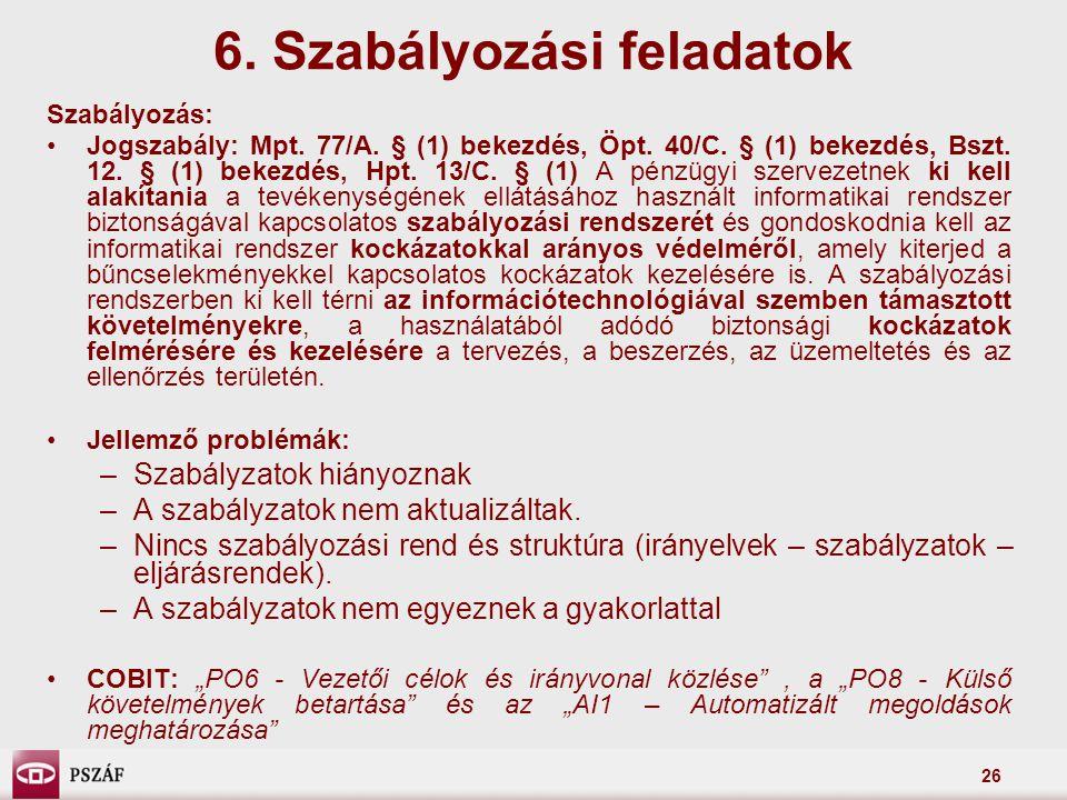 26 6. Szabályozási feladatok Szabályozás: Jogszabály: Mpt. 77/A. § (1) bekezdés, Öpt. 40/C. § (1) bekezdés, Bszt. 12. § (1) bekezdés, Hpt. 13/C. § (1)