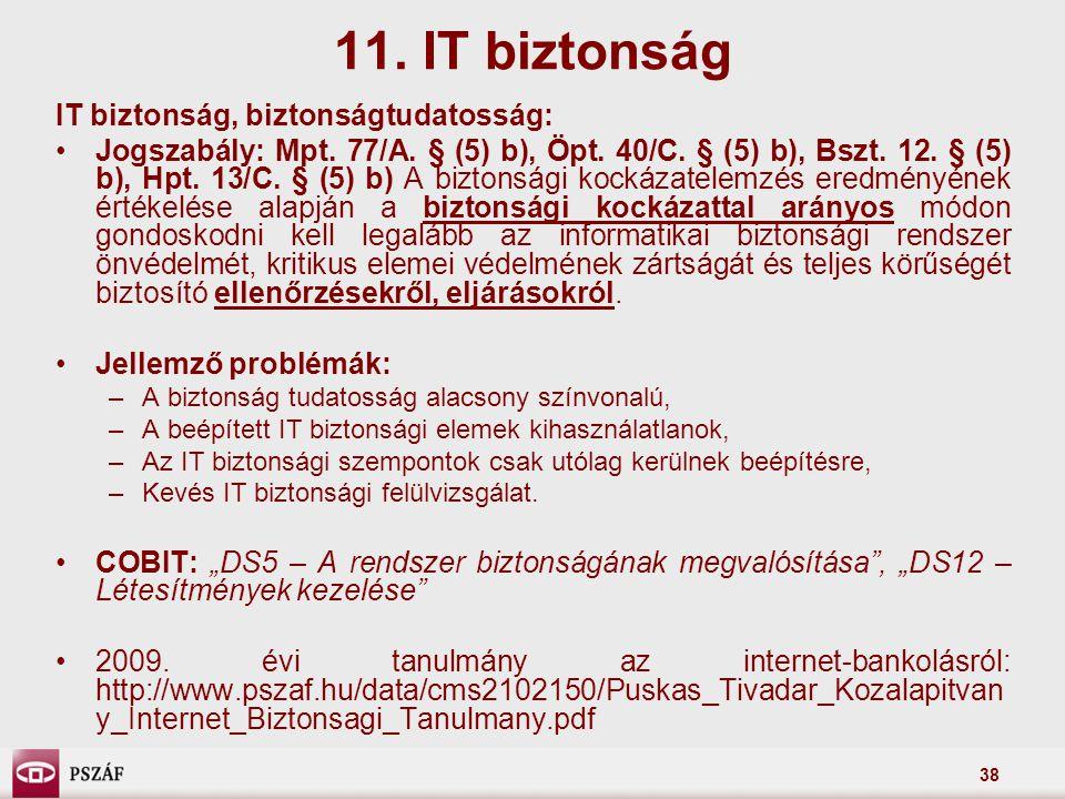 38 IT biztonság, biztonságtudatosság: Jogszabály: Mpt. 77/A. § (5) b), Öpt. 40/C. § (5) b), Bszt. 12. § (5) b), Hpt. 13/C. § (5) b) A biztonsági kocká