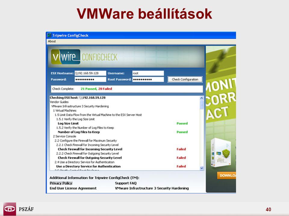 40 VMWare beállítások
