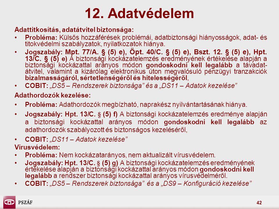 42 Adattitkosítás, adatátvitel biztonsága: Probléma: Külsős hozzáférések problémái, adatbiztonsági hiányosságok, adat- és titokvédelmi szabályzatok, n