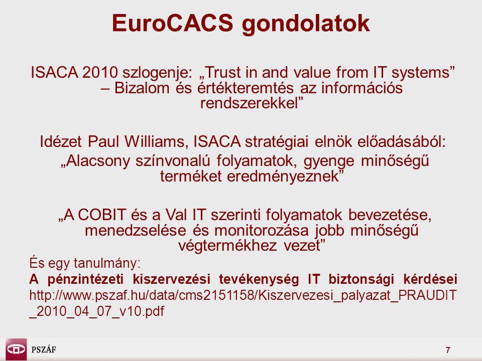 """7 EuroCACS gondolatok ISACA 2010 szlogenje: """"Trust in and value from IT systems"""" – Bizalom és értékteremtés az információs rendszerekkel"""" Idézet Paul"""