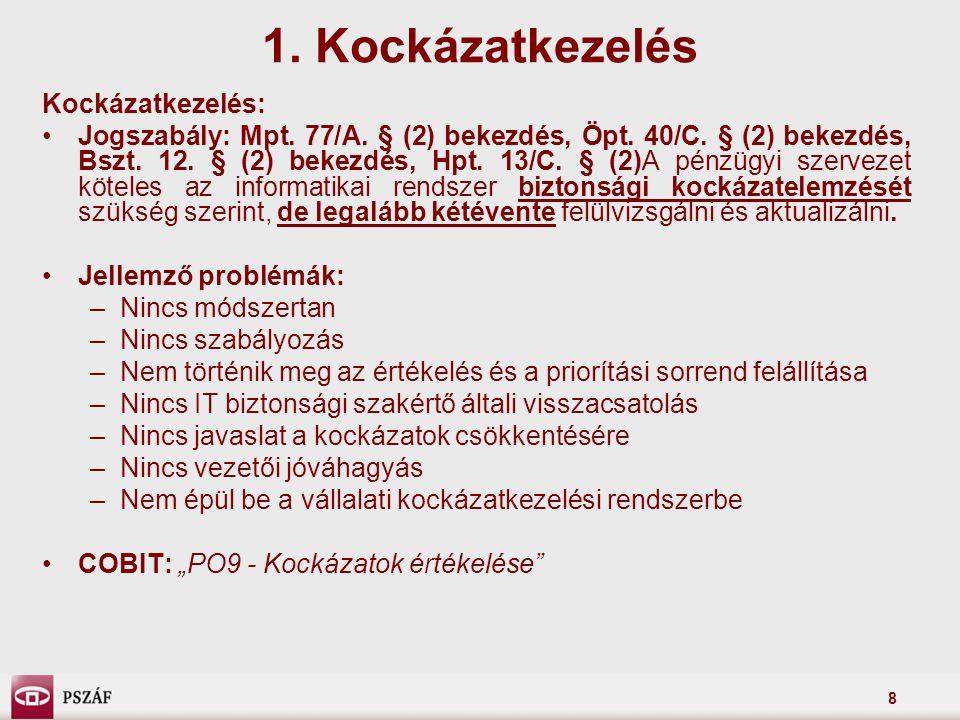 8 1. Kockázatkezelés Kockázatkezelés: Jogszabály: Mpt. 77/A. § (2) bekezdés, Öpt. 40/C. § (2) bekezdés, Bszt. 12. § (2) bekezdés, Hpt. 13/C. § (2)A pé