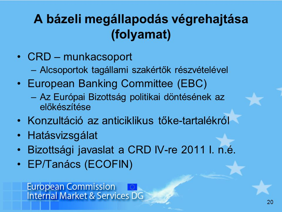 20 A bázeli megállapodás végrehajtása (folyamat) CRD – munkacsoport –Alcsoportok tagállami szakértők részvételével European Banking Committee (EBC) –Az Európai Bizottság politikai döntésének az előkészítése Konzultáció az anticiklikus tőke-tartalékról Hatásvizsgálat Bizottsági javaslat a CRD IV-re 2011 I.